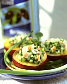Nectarines with cucumber and salmon stuffing