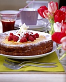 Quark cake with white chocolate and raspberries