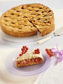 Redcurrant meringue cake and Linzer tart with plums