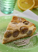 A piece of gooseberry quark cake