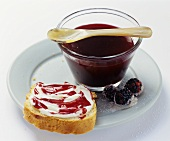 Blackberry jam & a blackberry jam & soft cheese sandwich