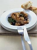Coniglio alla contadina (rabbit with pine nuts & olives)