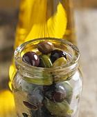 Bottled olives in the jar