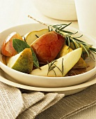 Apple and pear salad in rosemary and apple syrup