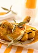 Pollo alla salvia (Chicken stuffed under the skin with sage)
