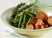 Cooked beef sausage with green beans (food combining)