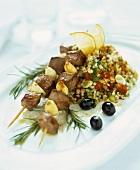 Lamb kebabs with garlic and tabouleh (bulgur salad)