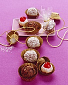Chocolates, marzipan fig balls and coconut rum balls