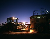 Mechanised vintage at night, Barossa, Australia