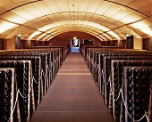 Wine cellar full of pupitres, Domaine Chandon, Yarra Valley
