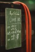 Barrel label in wine cellar of Joseph Drouhin, Beaune, Burgundy