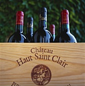 Wine bottles from Chateau Haut Saint Clair, France