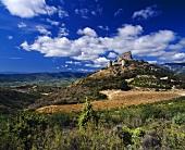 Ruine von Schloss d'Aguilar über Weinbergen von Tuchan, Aude