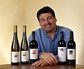 Jean-Luc Colombo with a selection of his wines, Cornas, France