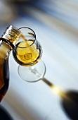 Single Malt Whisky wird in ein Glas eingeschenkt