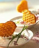 Parmesan waffles with garlic mousse