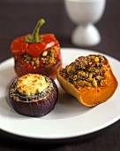 Stuffed red onion, stuffed pepper and stuffed pumpkin