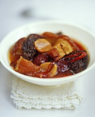 Miso stew with belly pork, beetroot and morels