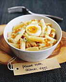 Penne with Salmon Caviare and a Soft-boiled Egg