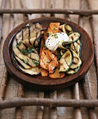 Barbecued vegetable strips with basil and crème fraiche