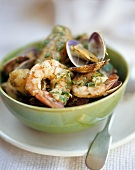 Shrimp and mussel salad with potatoes and herbs