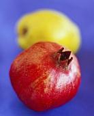 Granatapfel, dahinter Quitte