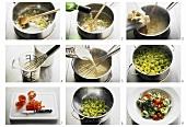 Making green tortellini with gorgonzola sauce