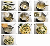 Making macaroni bake with courgettes