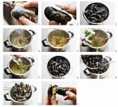 Preparing mussels in white wine stock