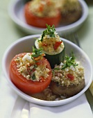 Stuffed vegetables (tomato, giant mushroom, courgette)