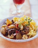 Boeuf bourguignon on ribbon noodles