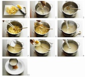 Making creamed potato soup with smoked salmon