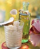 Coconut & lime puree & Mutala (cocoa liqueur, lime & rum drink)