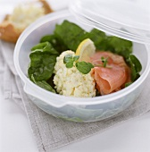 Egg salad with salmon and salad leaves in sandwich box