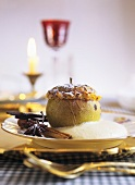 Roast apple with zabaione (whipped wine sauce)