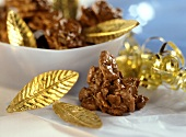 Chocolate cornflake clusters with dried fruit