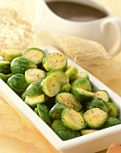 Steamed Brussels sprouts as accompaniment