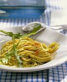 Spaghetti alla rucola (Spaghetti with rocket sauce & pine nuts)