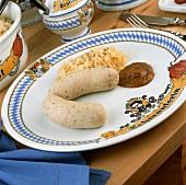 White sausages, mild mustard & sauerkraut (Seltmann plate)