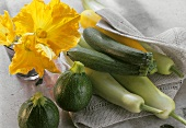Various types of courgettes and courgette flowers