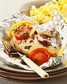 Olive chicken baked in foil