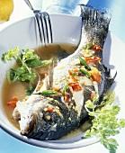Steamed sea bass