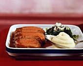 Beef fillet with spinach and Roquefort mashed potato