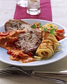 Pork steak with pepper, pepper sauce and noodles