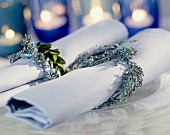 Pale-blue napkins with winter twigs as napkin rings