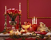 Buffet display in red for a romantic buffet