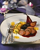 Saddle of venison with potato & apple gratin and red wine sauce