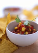 Nachos with Mexican sweetcorn and tomato salsa
