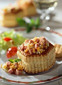 Vol-au-vent with cooked ham & vegetable filling