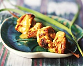 Fried chicken satay kebab